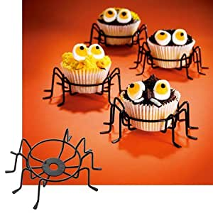 Cupcake Holder Metal Wire Spider Cupcake Stands Set of 4. The Perfect Cupcake Carrier. Halloween Decorations, Halloween Party Favors, Spiderman Party.