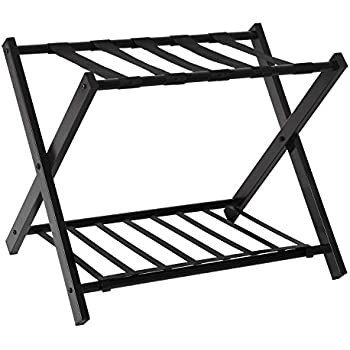 Birdrock home luggage rack stand shoe shelf compact folding design bedroom guest for Folding luggage racks bedroom