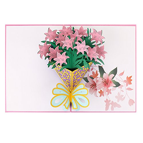 Thank You Pop Up Cards, Breezypals 3D Lily Bouquet Birthday Card, Handmade Thank You Greeting Cards with Envelopes for Valentines, Wedding, Bridal Shower, Baby Shower Father's Day - Every Occasion