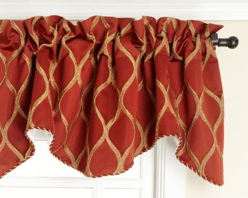 Style Master Renaissance Home Fashion Raven Embroidered Lined Scalloped Valance with Cording, Ginger, 50 by 17-Inch -