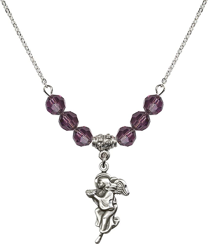 18-Inch Rhodium Plated Necklace with 6mm Amethyst Birthstone Beads and Sterling Silver Guardian Angel Charm.