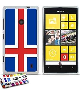Muzzano f392946Casperia-Carcasa ultrafina original y brillante con diseño de la bandera de Islandia para NOKIA LUMIA 520, color blanco