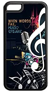 """Nice Saying-""""When Words Fail, Music Speaks.""""- Iphone 6 4.7'' plastic BLACK case - compatible with iPhone 6 4.7'' only - CHOOSE YOUR COLOR"""