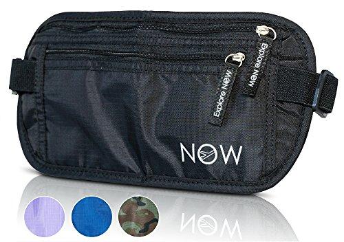 RFID Waist Pack Money Belt - Men & Women. Passport Holder, Travel (Lightweight Travel Courier Bag)