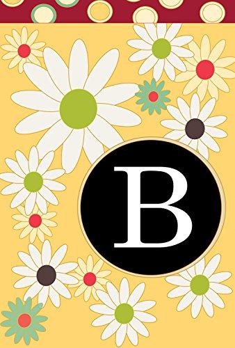 Toland Home Garden Floral Monogram B 12.5 x 18 Inch Decorative Spring Summer Flower Initial Garden Flag