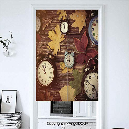 AngelDOU Fall Decor Japanese Durable Doorway Curtains Different Colored Dry Maple Leaves Various Alarm Clocks on Wooden Planks Print Decorative for Hotel Bathroom Curtains Kitchen De 39.3x59 inches ()