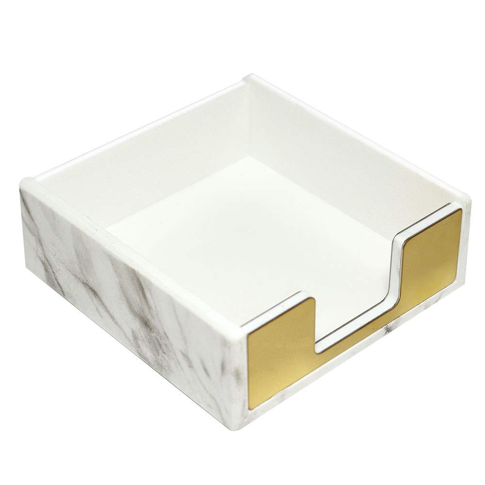 MultiBey Sticky Note Holder Marble White Texture with Gold by MultiBey