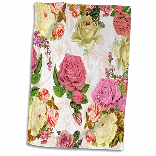 3D Rose Vintage Pink and White Roses-Flowers with Peach Swirls-Pretty Antique Floral Pattern-Flowery Towel, 15 x 22, Multicolor