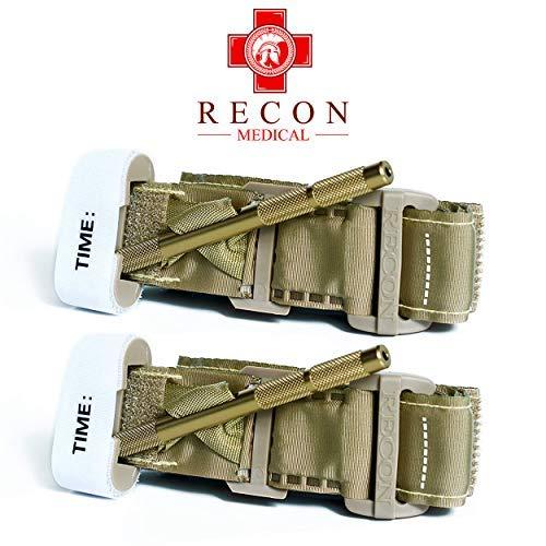 Recon Medical TANTQTourniquet - (TAN) Gen 3 Mil-Spec Kevlar Metal Windlass Aluminum First Aid Tactical Swat Medic Pre-Hospital Life Saving Hemorrhage Control Registration Card 1 Pack