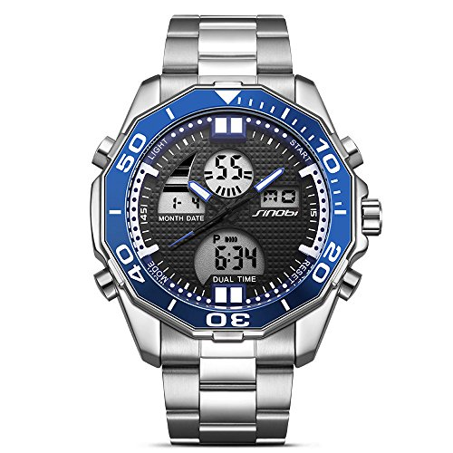 SINOBI Luxury Mens Digital - Analogue Multifunctional Watch with LED Back Light Dial and Stainless Steel Bracelet - Blue Bezel