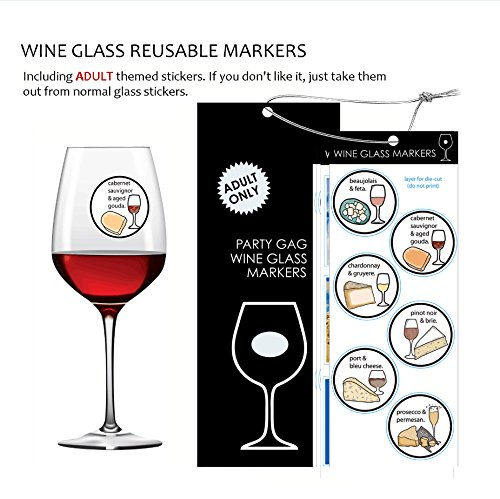 Wine Opener Set , 5 Pcs Deluxe Wine Accessory Set- Includes Corkscrew, Stopper, Aerator Pourer, Foil Cutter, Silver Glass Paint Marker w/ Fun Static Cling Reusable Drink Markers Stickers in Gift Box, Red