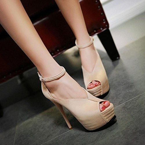 Shoes Toe High Sexy Ivory Heel Platform Women Peep Pumps Stiletto COOLCEPT zIq0BZS