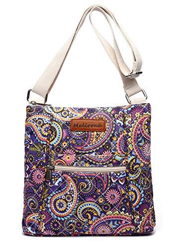 (Malirona Women Crossbody Purse Hipster Cross Body Bag Canvas Shoulder Handbag Floral Design (Purple Flower))