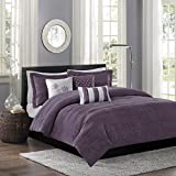 Madison Park Hampton Duvet Cover King/Cal King Size - Purple, Jacquard Pleated Stripes Duvet Cover Set – 6 Piece – Ultra Soft Microfiber Light Weight Bed Comforter Covers