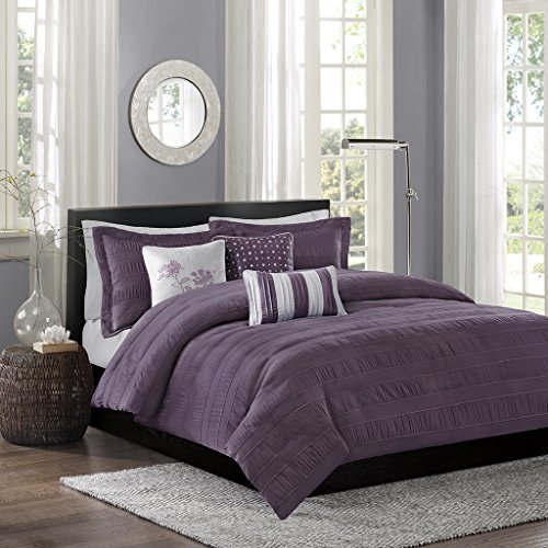 Madison Park Hampton Duvet Cover Full/Queen Size - Purple, Jacquard Pleated Stripes Duvet Cover Set – 6 Piece – Ultra Soft Microfiber Light Weight Bed Comforter (Hampton Comforter Set)