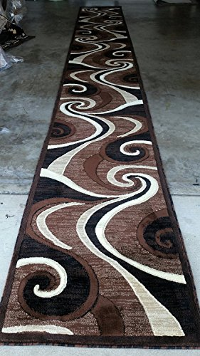 Modern Long Runner Area Rug Brown Americana Design 144 (32 Inch X19 Feet 8 Inch) by Americana