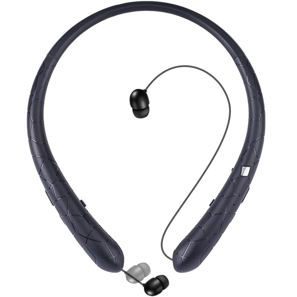 Bluetooth Retractable Headphones, Wireless Earbuds Neckband Headset HD Stereo Earphones with Mic (Black)