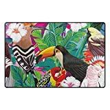 U LIFE Vintage Wild Animals World Tropical Forest Birds Floral Flowers Large Doormats Area Rug Runner Floor Mat Carpet for Entrance Way Living Room Bedroom Kitchen Office 31 x 20 Inch