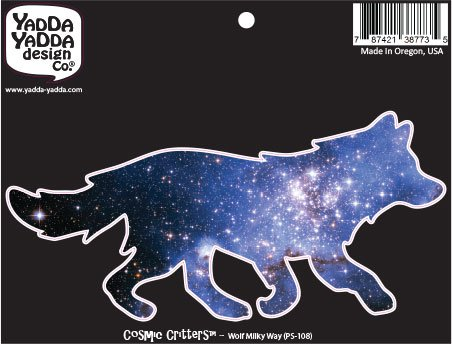 PS-108 - Cosmic Milky Way Galaxy Wolf - Peel and Stick Vinyl Decal - Copyright YYDC (6
