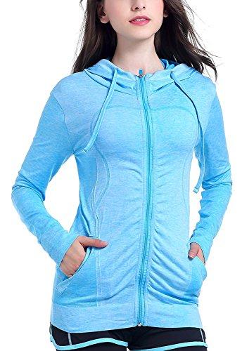 HIYAGO Lightweight Active Performance Full-zip Hoodie Jacket (L, light blue)