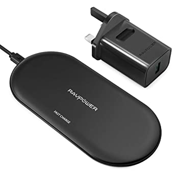 RAVPower Wireless Charging Pad Qi Fast Wireless Charger with 4 Coils 10W for Galaxy S9 S8, Compatible iPhone X 8 Plus 8 & All Qi Enabled Devices (QC