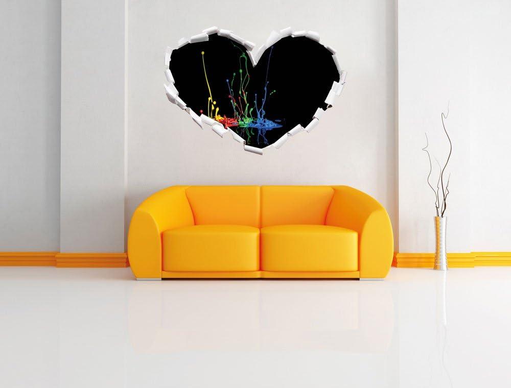 Wandsticker Wanddekoration Wand- oder T/üraufkleber Format: 62x43.5cm Wandtattoo Stil.Zeit Dark Farbspritzer Herzform im 3D-Look