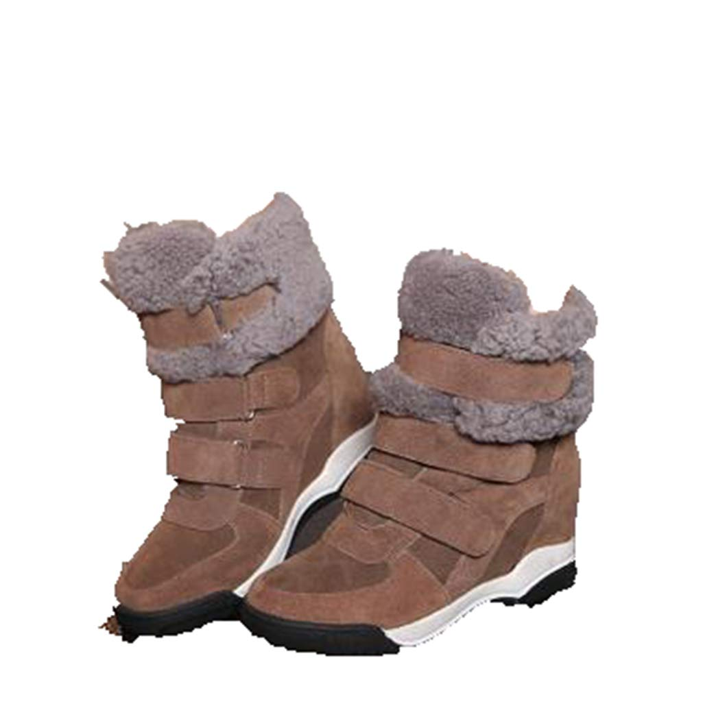 Brown Fay Waters Women's Wedges Lambswool Short Boots Cow Fur Suede Hidden Heel Winter Snow Ankle Booties