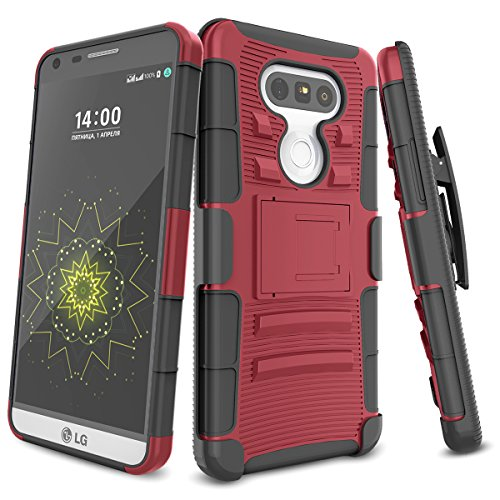 LG G5 Case,TILL [Knight Armor] Heavy Duty Full-Body Rugged Holster Resilient Armor Case [Belt Swivel Clip][Kickstand] Combo Cover Shell for LG G5 Phone AT&T T-Mobile Sprint Verizon Unlocked [Red]