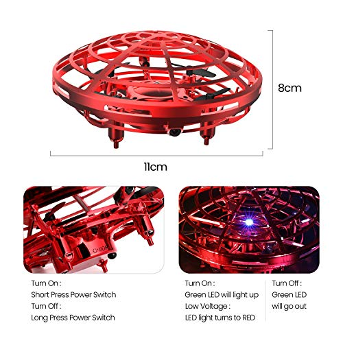 UFO Flying Ball Toys, Gravity Defying Hand-Controlled Suspension Helicopter Toy, Infrared Induction Interactive Drone Indoor Flyer Toys with 360° Rotating for Kids, Teenagers Boys Girls (Red) by ZD-SPORT (Image #2)