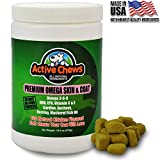 Active Chews Pure Omega Fish Oil for Dogs, All Natural Omega 3 for Dogs Skin and Coat Supplement, Helps with Dog Dry Skin, Immune and Heart Health, 120 Dog Treats