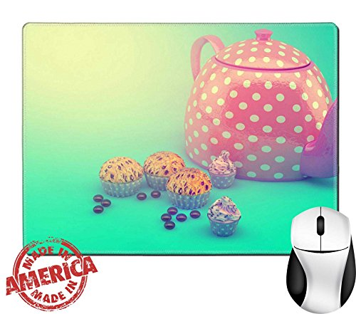 "Luxlady Natural Rubber Mouse Pad/Mat with Stitched Edges 9.8"" x 7.9"" Sweet and colourful teapot and cupcakes on retro vintage background IMAGE 31430258 (Teapot Sweet)"