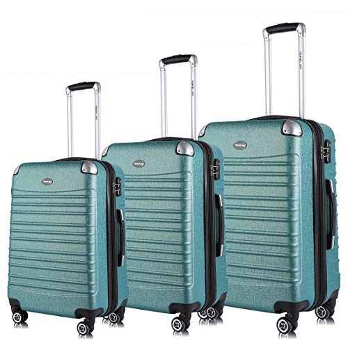 Expandable Luggage Set, TSA Lightweight Spinner Luggage Sets, Carry On Luggage 3 Piece Set Free Gift Inside (Light Green, (Lightweight Womens Luggage Set)