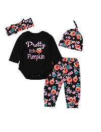 Vinjeely Baby Girls Pumpkin Floral Romper Tops Pants Cap Halloween Clothes Sets