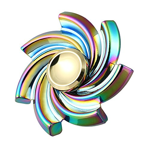Vanvler Metal Edc Fidget Spinner New Flower Cyclone Rare Spinner Alloy EDC Focus ADHD Autism Finger Toy (colorful)