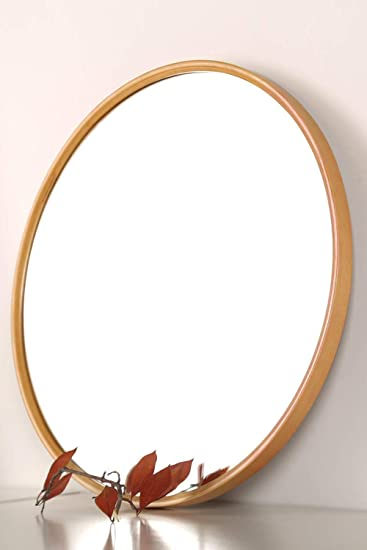 Amazon Com Tinytimes 27 56 Wooden Large Round Mirror Round Vanity Mirror Clean Wall Decor For Entryways Living Rooms Bathroom Corridor Round Wall Mirror Natural Home Kitchen