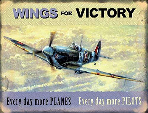 (ADILH Tin Sign Wings for Victory Spitfire WW2 War RAF Vintage Retro Metal Tin Sign)