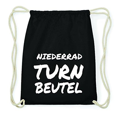 JOllify NIEDERRAD Hipster Turnbeutel Tasche Rucksack aus Baumwolle - Farbe: schwarz Design: Turnbeutel