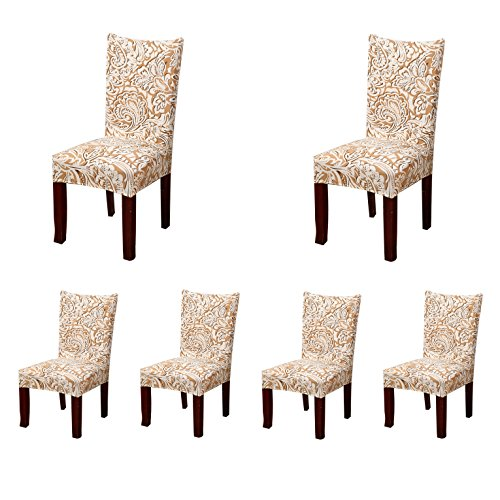 Jiuhong Stretch Removable Washable Short Dining Chair Protector Cover Slipcover (6, Style 23)