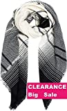 Blanket Scarf Women Scarves Wrap Poncho - Ecoinway Gradient Black Scarf Square Shawl Stylish Tartan Warm Cape Oversized Long Scarves Checked Hijab (Black Beige Scarf)