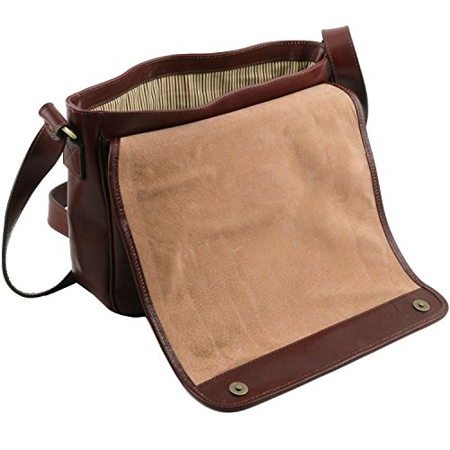 size Brown bag Dark Red One Leather shoulder Messenger Medium compartment TL leather Tuscany BAqPzp0w