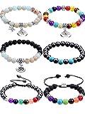 Blulu 7 Chakra Lava Stone Bracelet, Essential Oil Diffuser Bracelet, Charm Bracelet Yoga Gemstone Bracelet for Unisex (6 Pieces)