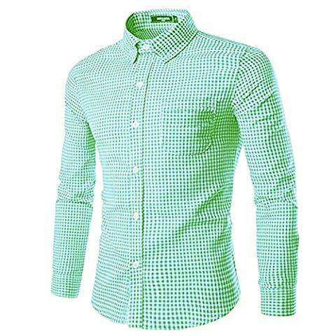 NUTEXROL Mens Dress Shirts Plaid Cotton Classic Slim Fit Long Sleeve Shirts Light Green M - Button Down Plaid Dress Shirt