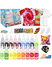 18 Colors Tie Dye Kit DIY Tie Dye Art Craft Set Tie Dye Party Supplies Includes 3 White T-Shirt for Summer Camps Parties Family Reunions Kids Adults
