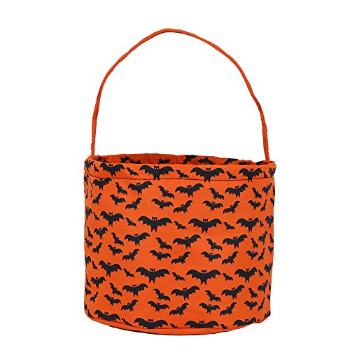 E-FirstFeeling Halloween Bags Trick or Treat Bags Halloween Basket Candy Gift Bucket Tote Bag - Orange Bat (Halloween Easy To Make Treats)
