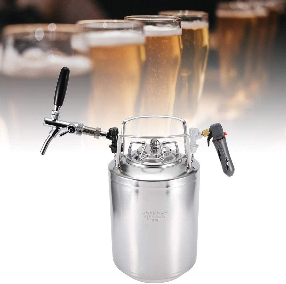 Barile da Birra in Acciaio Inossidabile Pressurizzato Distributore di Birra con Kit Rubinetto Regolabile per Erogazione di Birra Fatta in Casa 10L
