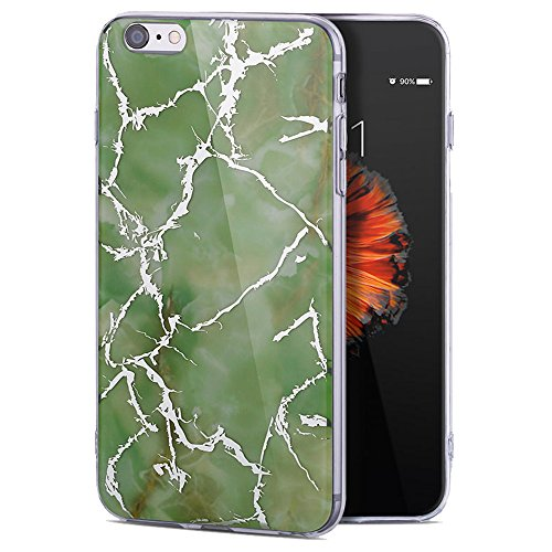 for iPhone 8 Case, iPhone 7 Cases, LAFUNDA Slim-Fit Marble Pattern Case Shock Proof Print TPU Silicone Hybrid Bumper Cover Anti-Scratch Stone Texture Collection Gel Rubber Shell, Green -