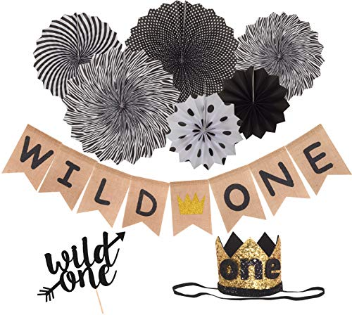 Wild One Birthday Decorations Black | First Birthday Party Supplies | Burlap Wild One Banner with Gold Crown | 'Wild One' Gold Glittered Hat / Crown | Black and White Paper Fans | Black Wild One Cake Topper for Baby Girl/Boy]()