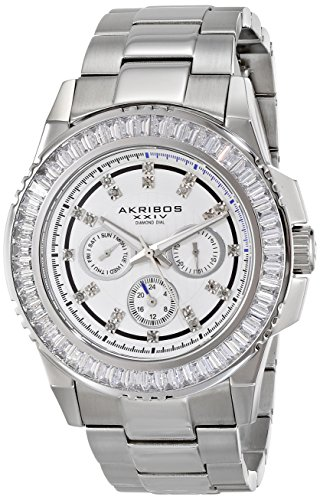 Stainless Baguette Bracelet Steel - Akribos XXIV Men's AK700SS Multifunction Quartz Movement Watch with White Dial and Stainless Steel Bracelet