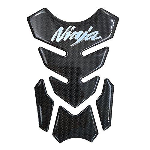 Real Carbon Fiber Chrome 3D Sticker Vinyl Decal Emblem Protection Gas Tank Pad For KAWASAKI Ninja 250 300 ALL (Kawasaki Ninja 250)