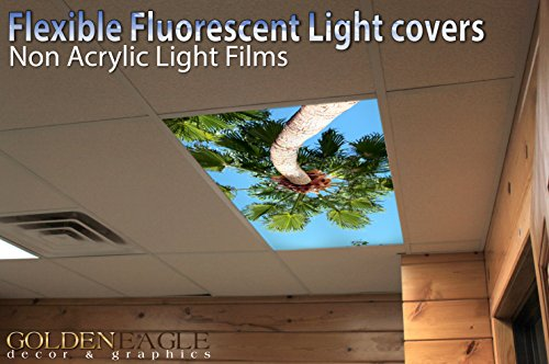 Palms 3 - 2ft x 4ft Drop Ceiling Fluorescent Decorative Ceiling Light Cover Skylight Film